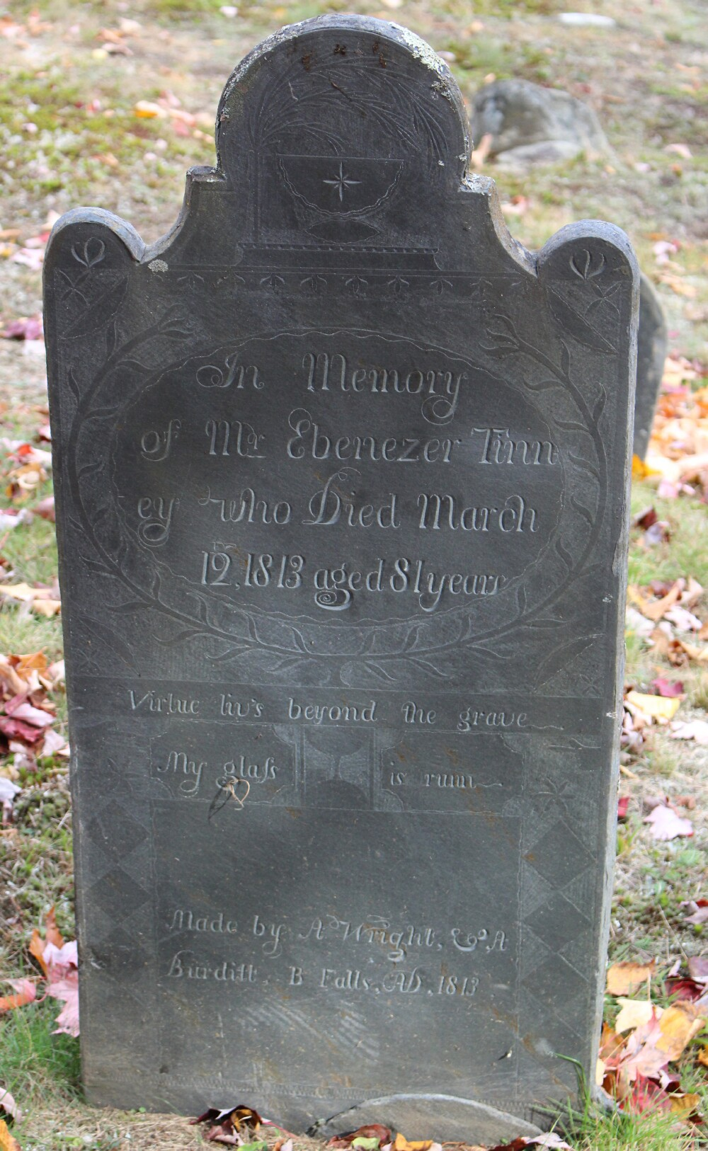 Ebenezer Tinney's tombstone in Grafton, Vermont (Courtesy of James Bianco)