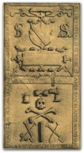 The tombstone of James Sandelands in Pennsylvania incudes a coat of arms. The inscription reads: HERE LIES INTERRED THE BODIE OF JAMES SANDELANDS MARCHANT / IN UPLAND IN PENNSYLVANIA WHO / DEPARTED HS MORTAIL LIFE APRILE THE 12 1692 AGE 56