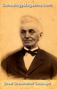 GEISINGER, Great-Grandfather