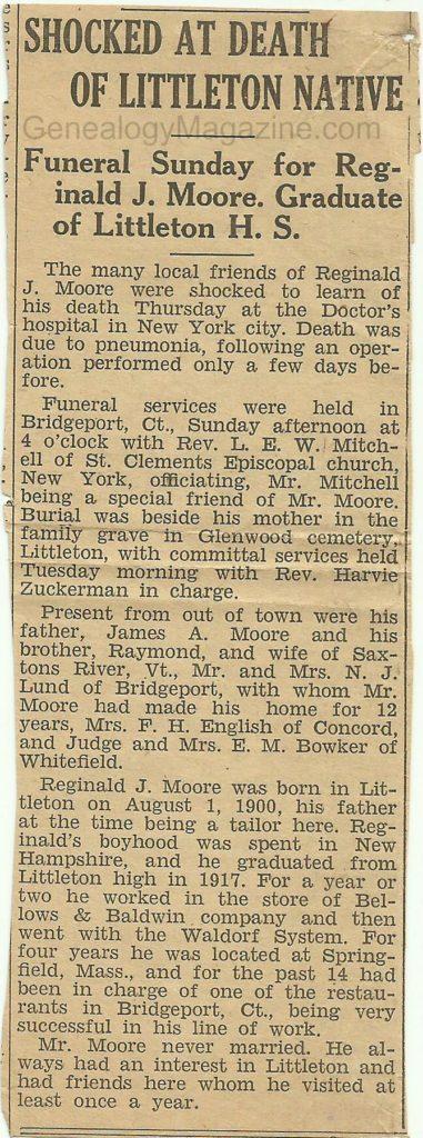 MOORE, Reginald J obituary