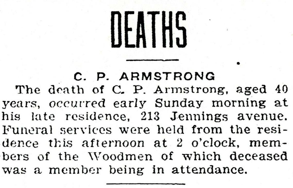 ARMSTRONG, C P obituary 2