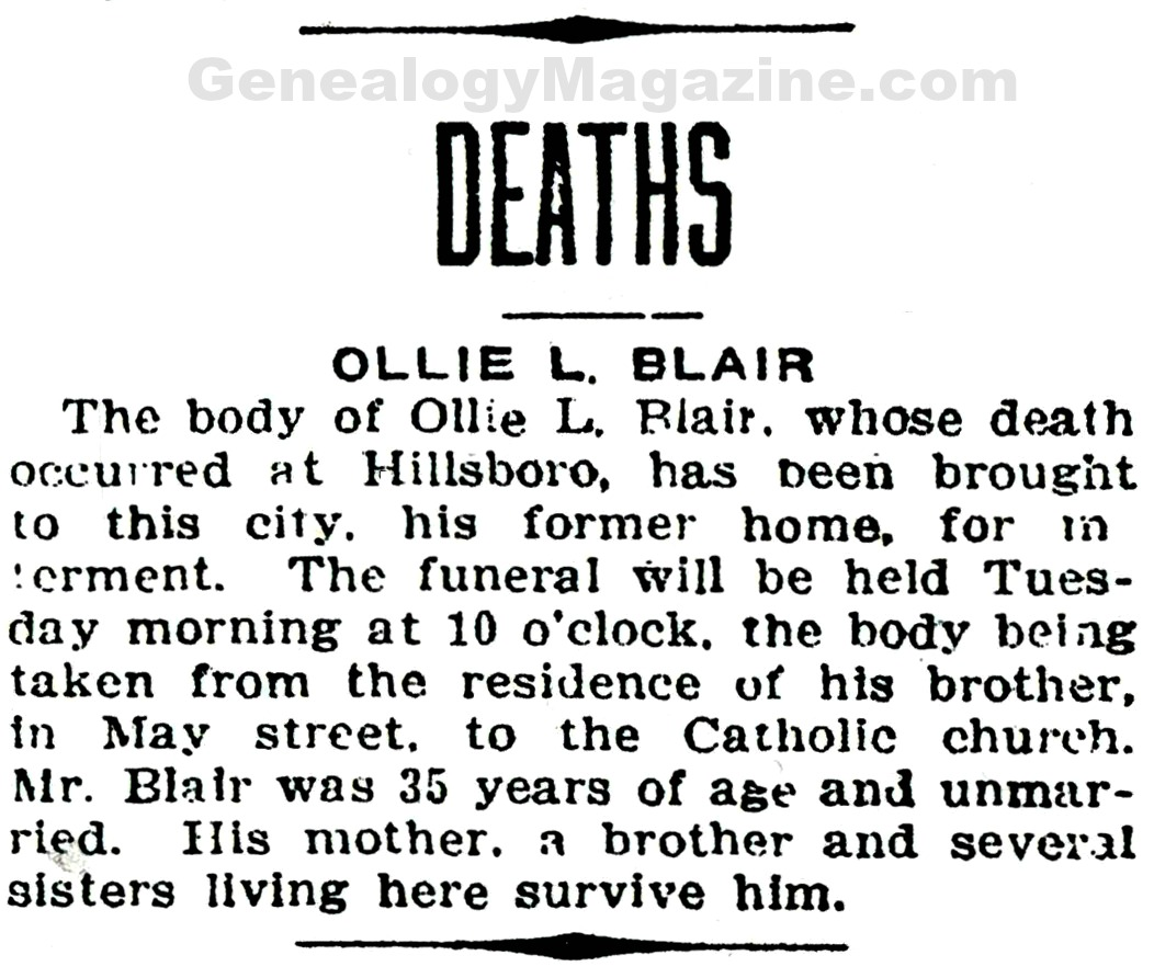 BLAIR, Ollie L obituary