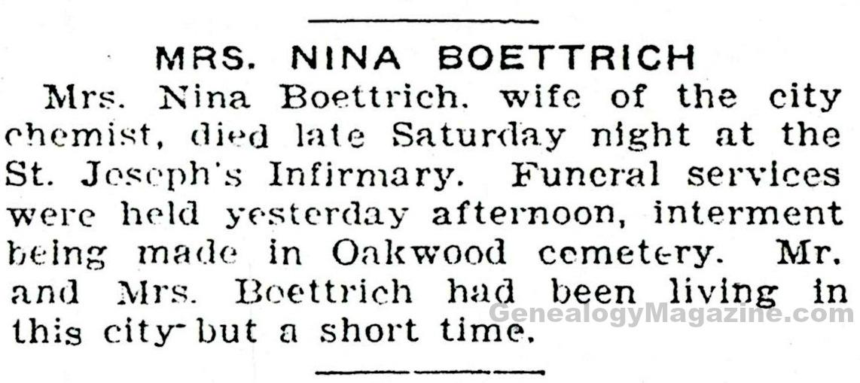 BOETTRICH, Nina obituary