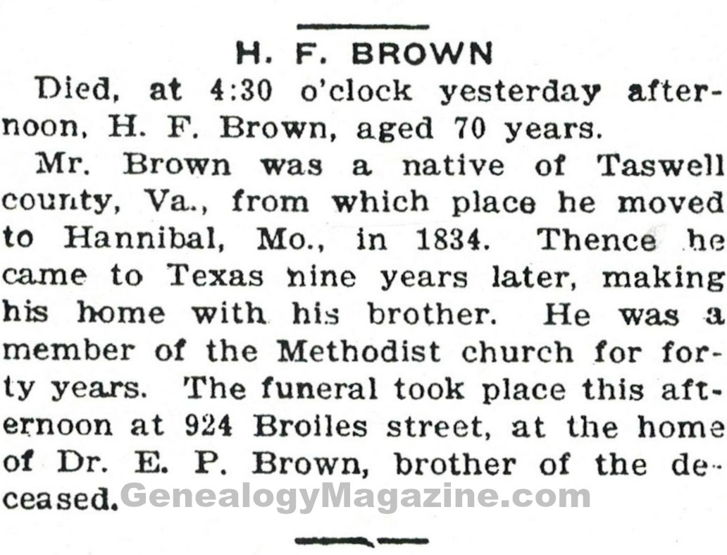 BROWN, H F obituary 2