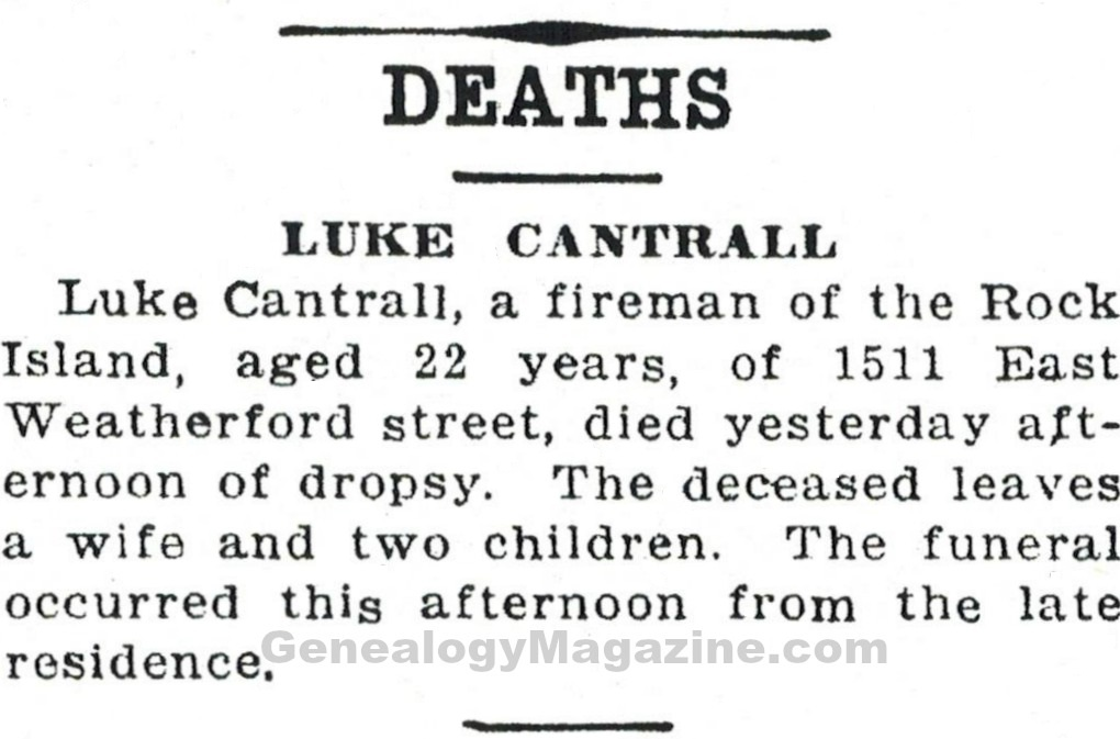 CANTRALL, Luke obituary 2