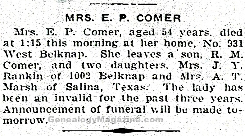 COMER, E P (Mrs.) obituary