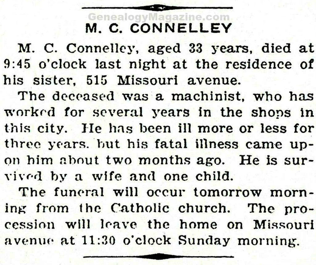 CONNELLEY, M C obituary 2