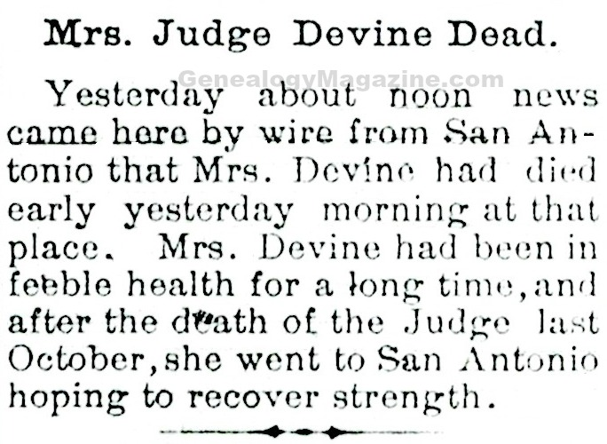 DEVINE, Mrs obituary