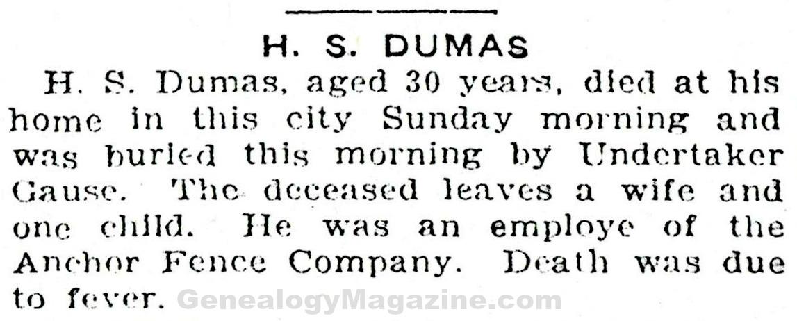 DUMAS, H S obituary