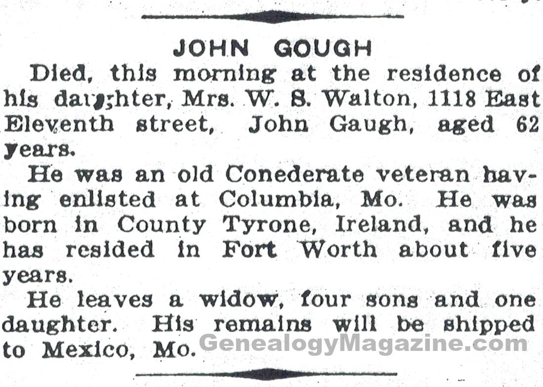 GOUGH, John obituary 2
