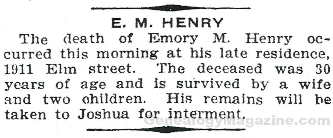 HENRY, E M obituary 2