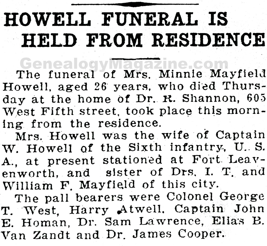 HOWELL, Minnie Mayfield obituary 2
