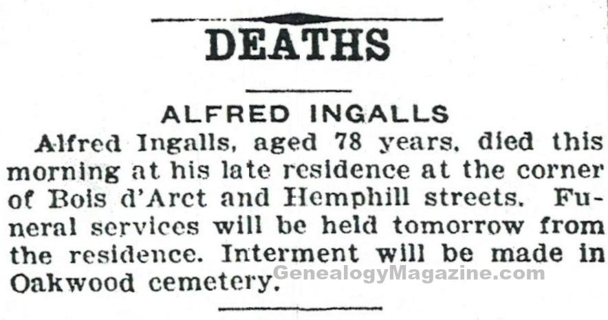 INGALLS, Alfred obituary 1