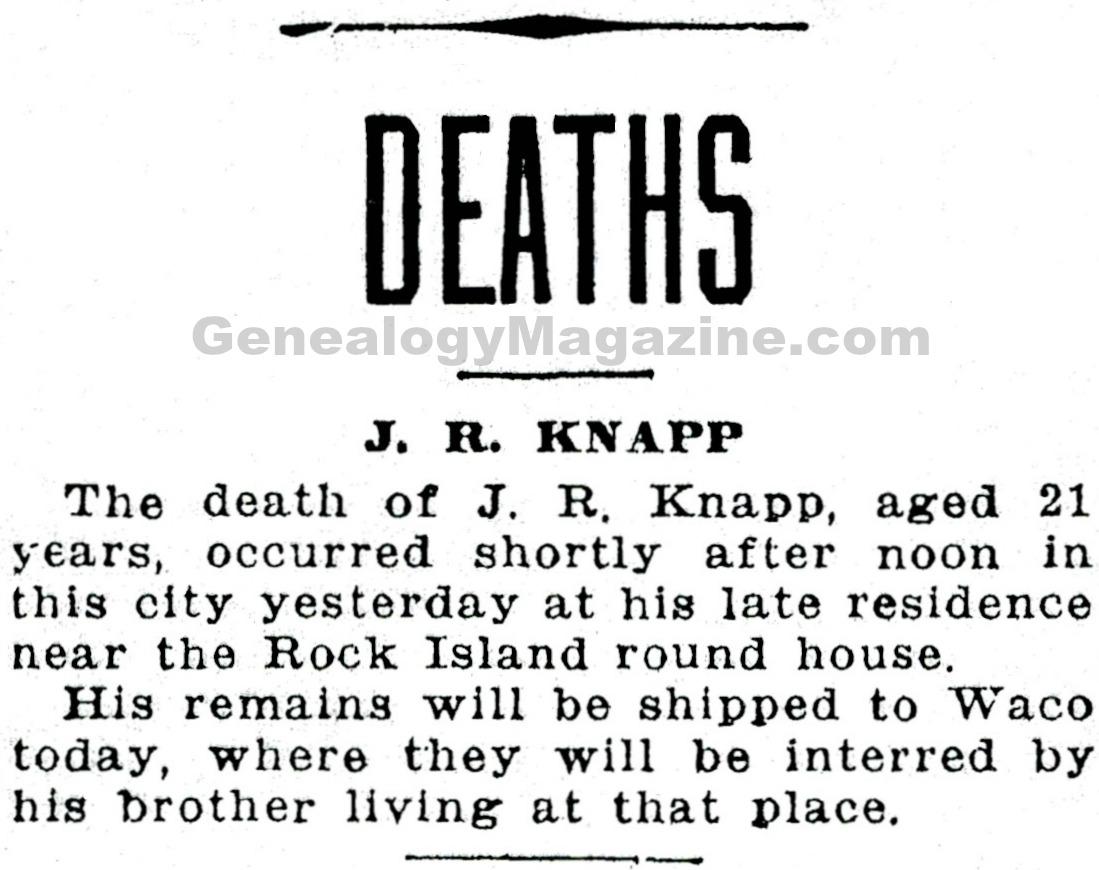 KNAPP, J R obituary 2