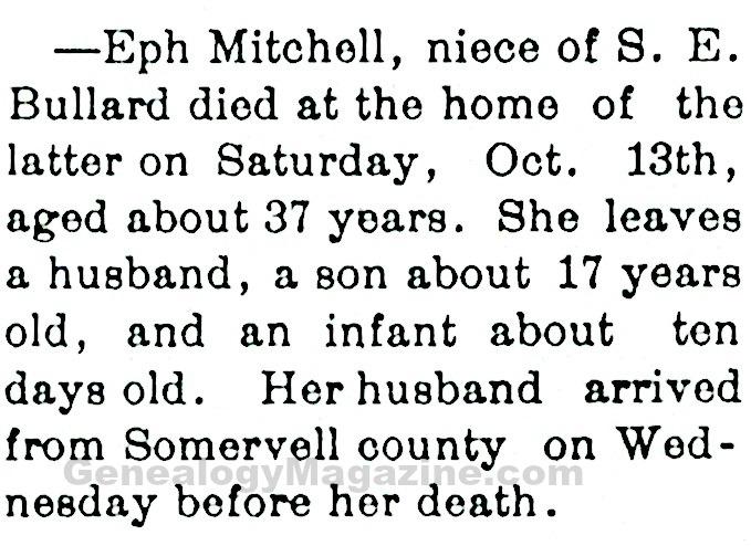 MITCHELL, Eph obituary
