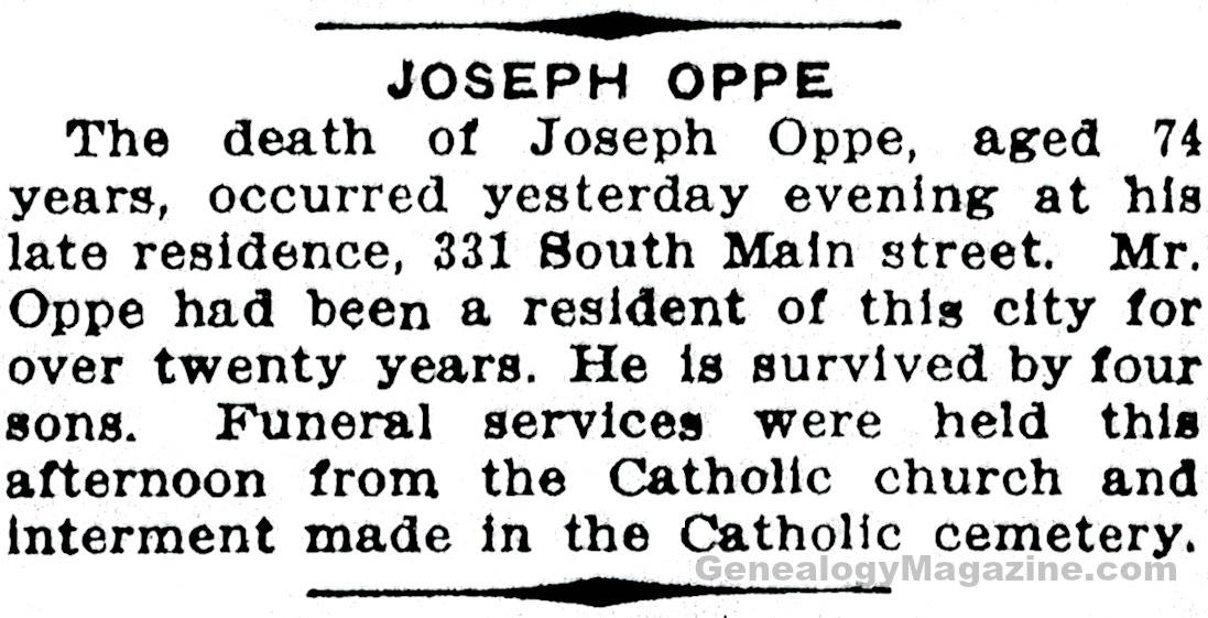 OPPE, Joseph obituary 2