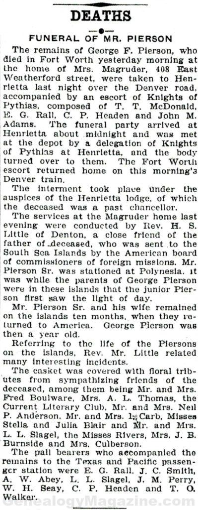 PIERSON, George F obituary 2