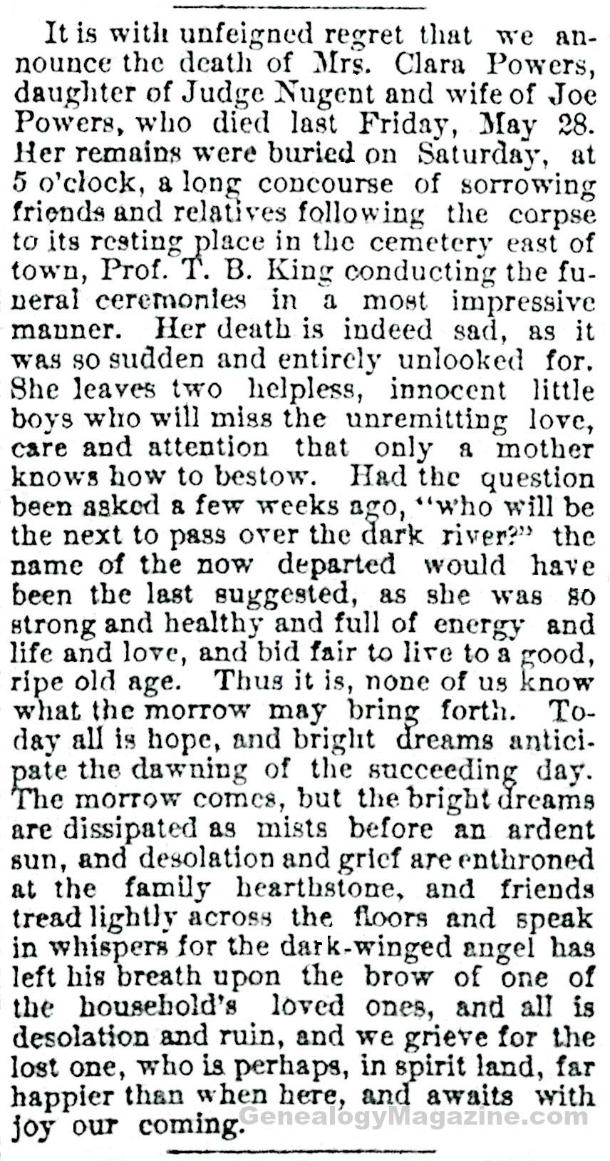 POWERS, Clara obituary