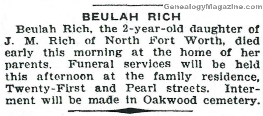 RICH, Beulah obituary