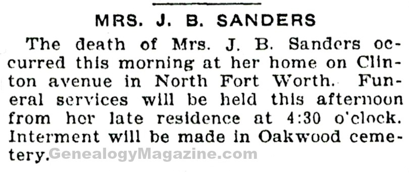 SANDERS, J B (Mrs) obituary