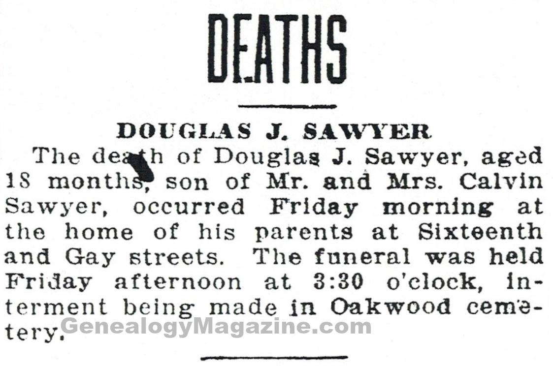 SAWYER, Douglas J obituary 2