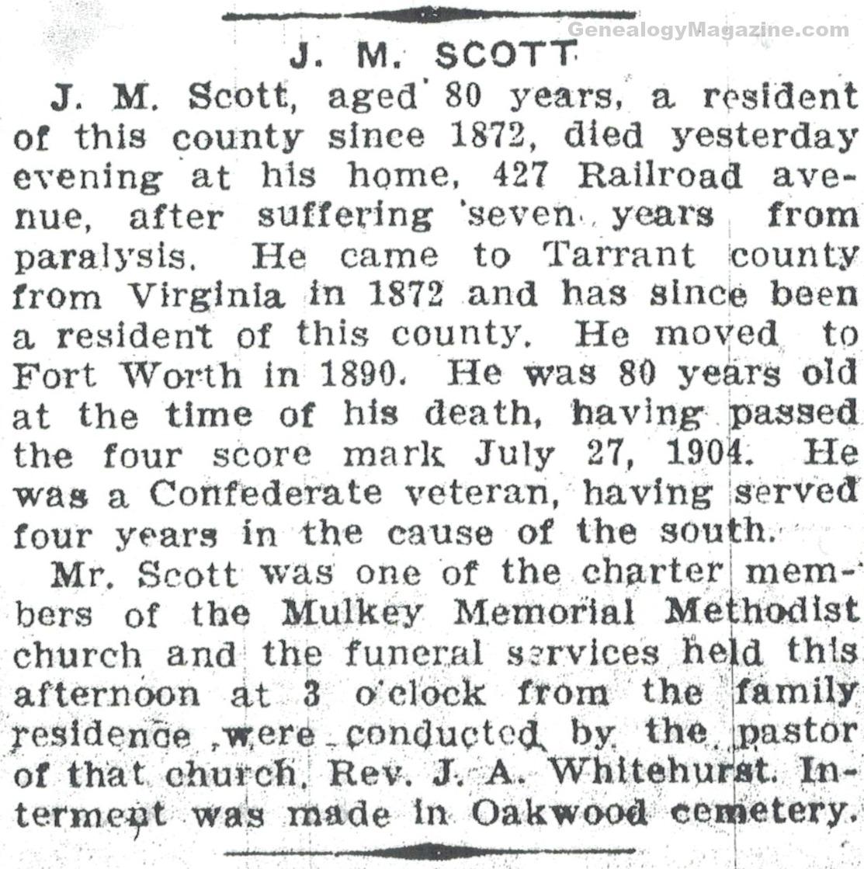SCOTT, J M obituary 2