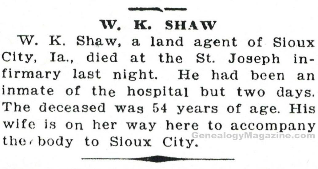 SHAW, W K obituary