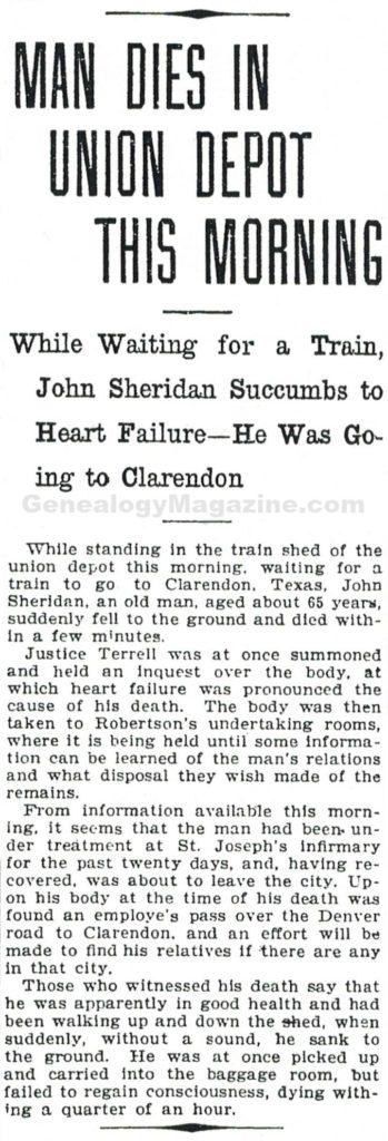 SHERIDAN, John obituary 2