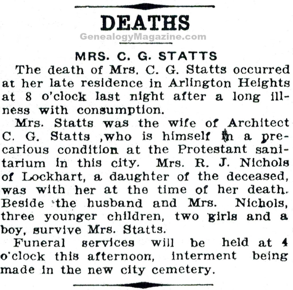 STATTS, C G obituary