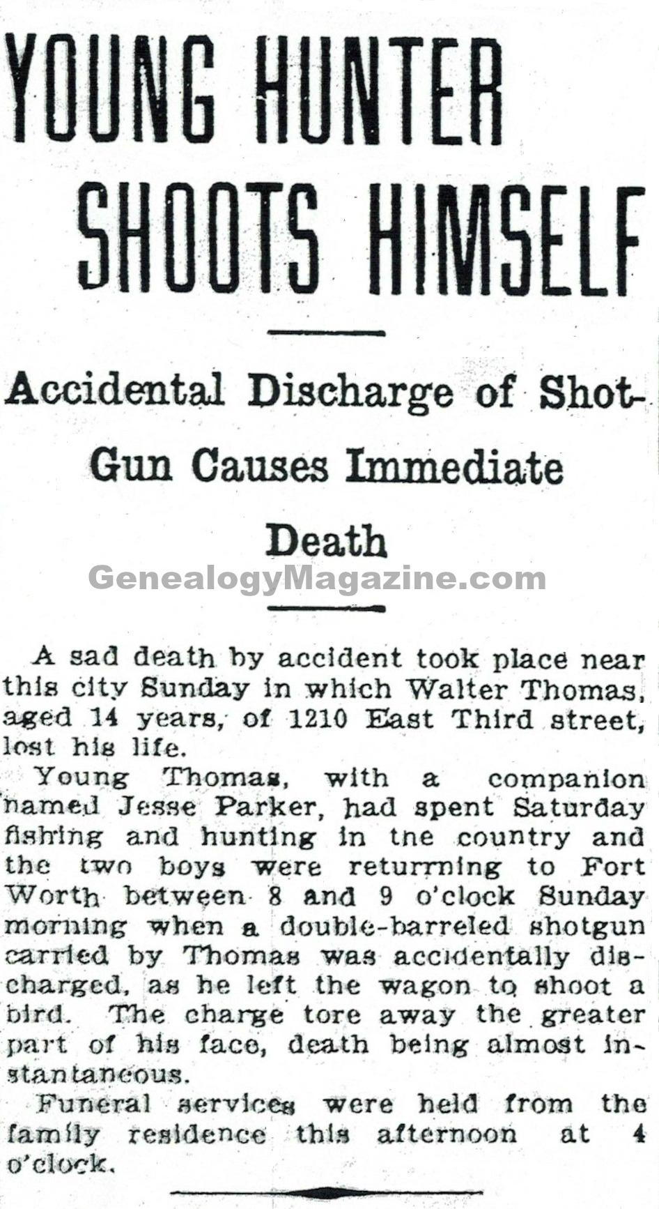 THOMAS, Walter obituary 2