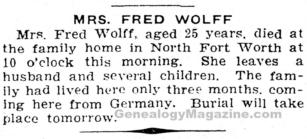 WOLFF, Fred Mrs obituary 2