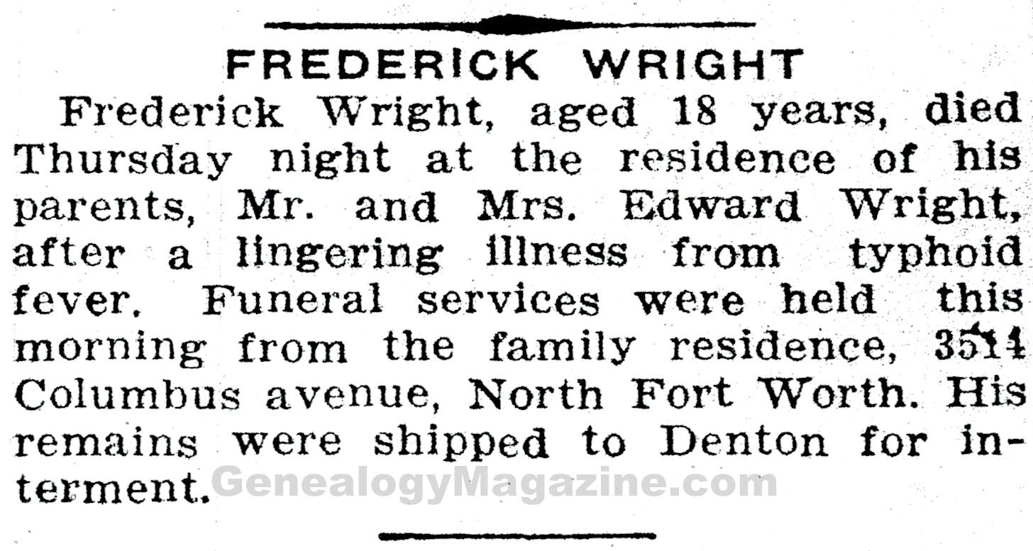 WRIGHT, Frederick obituary 1