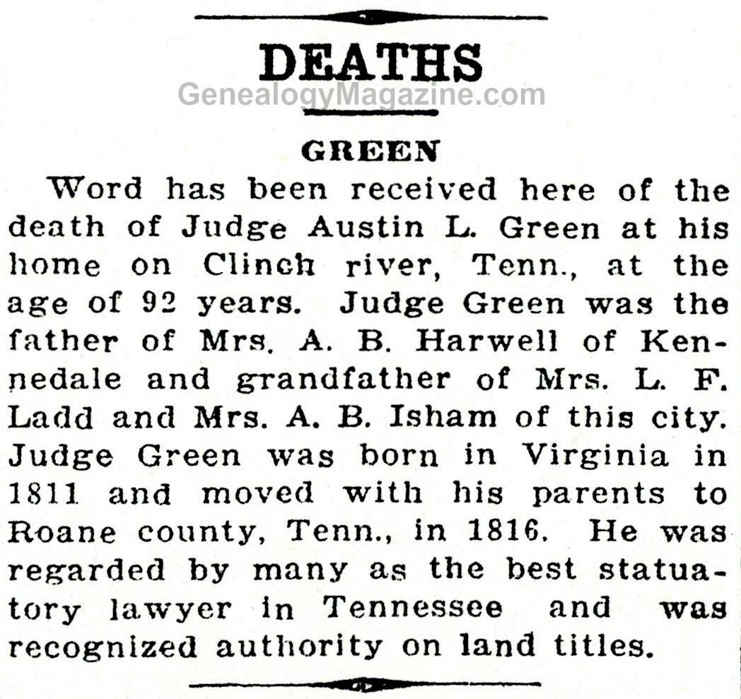 Judge Austin L. Green obituary