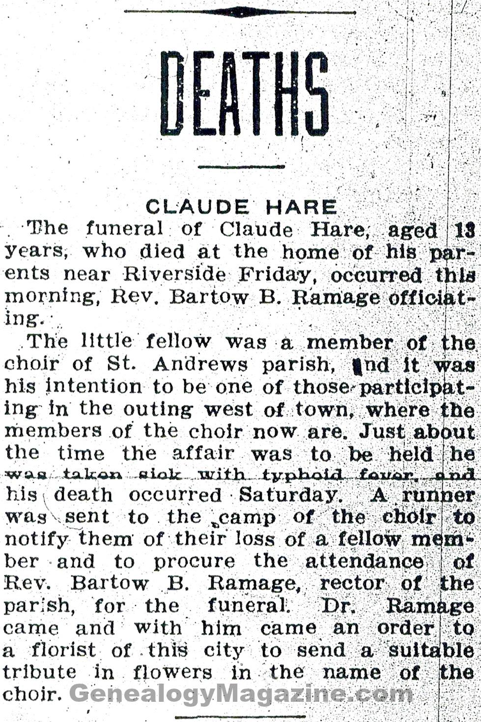 Claude Hare obituary