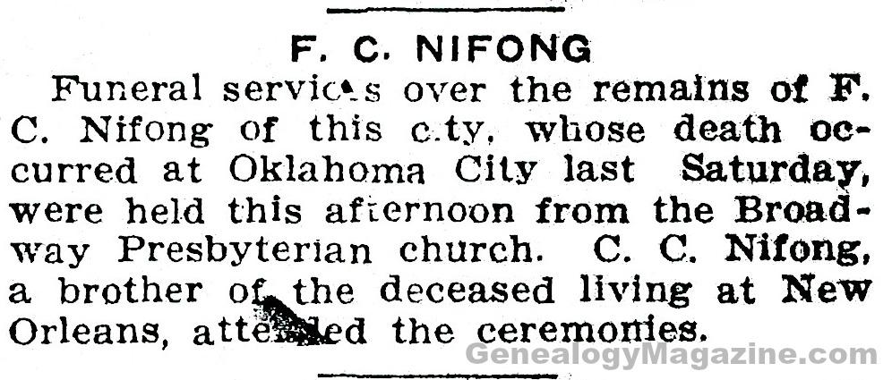 F. C. Nifong obituary
