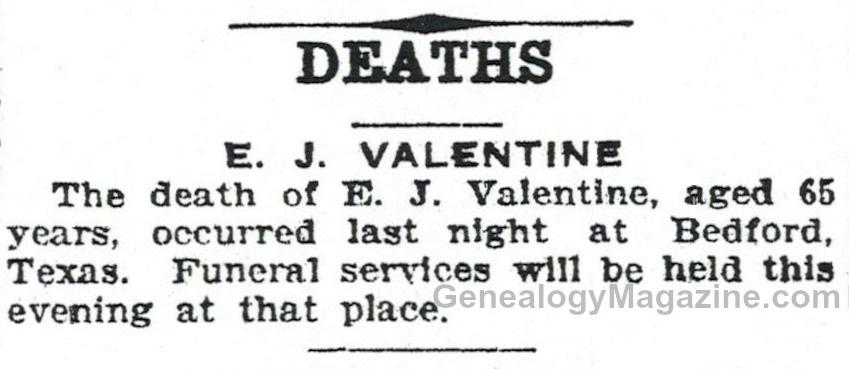 E. J. Valentine obituary