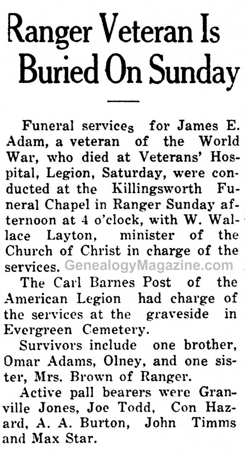 ADAMS, James E obituary