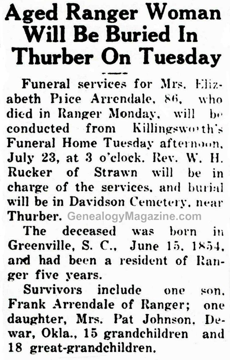 ARRENDALE, Elizabeth obituary