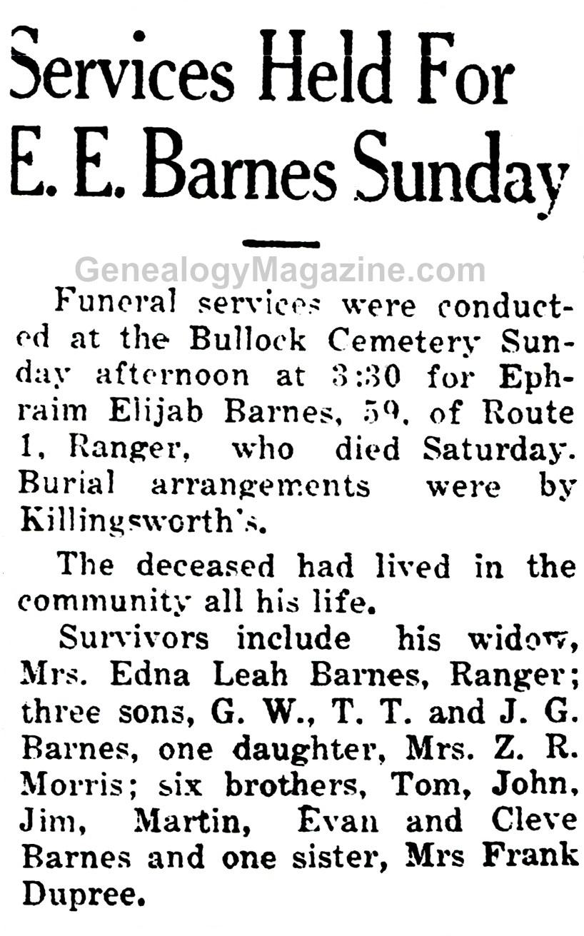 BARNES, Ephraim Elijah obituary