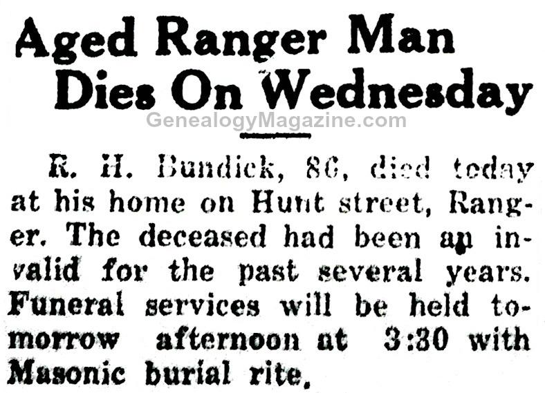 BUNDICK, R H obituary