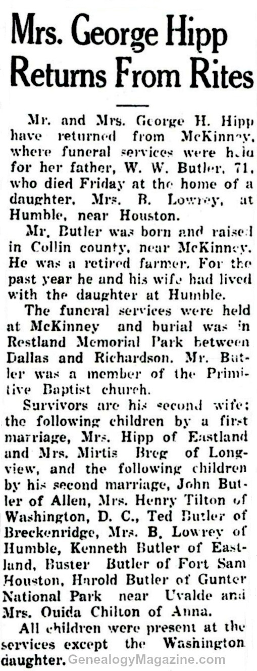 BUTLER, W W obituary