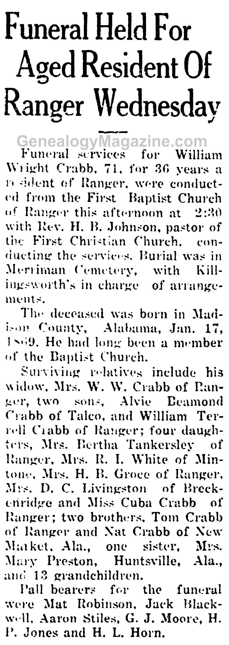 William Wright Crabb obituary