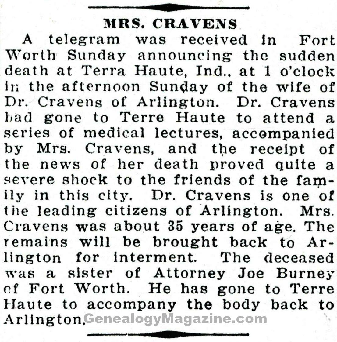CRAVENS, Mrs obituary