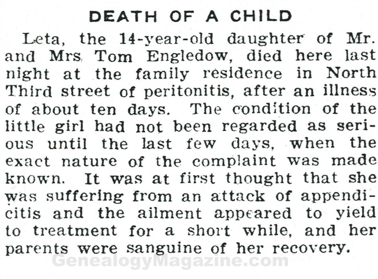 ENGLEDOW child obituary
