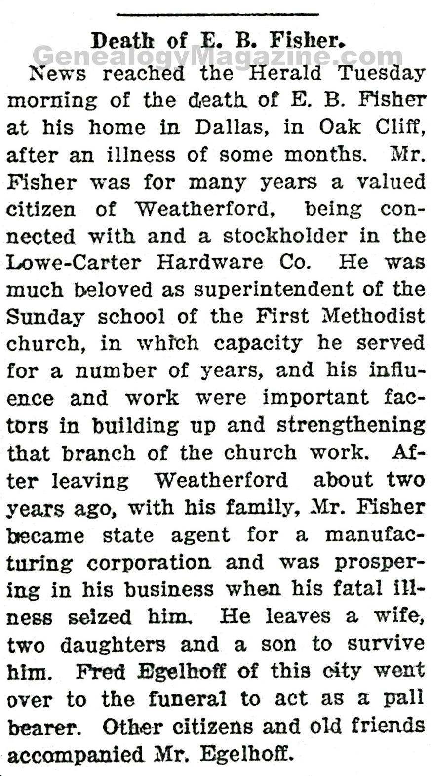 E B Fisher obituary