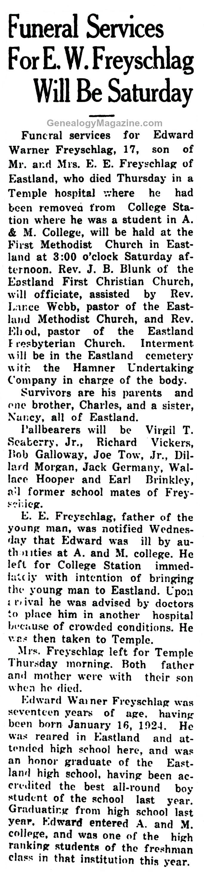 FREYSCHLAG, Edward Varner obituary