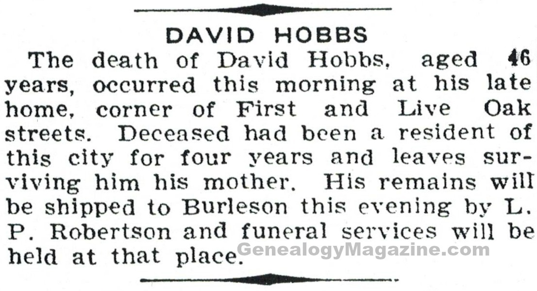 HOBBS, David obituary