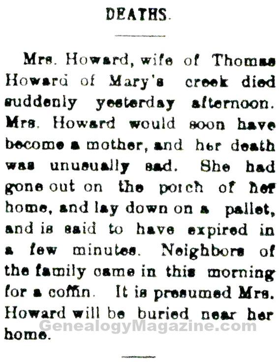 Mrs Thomas Howard obituary