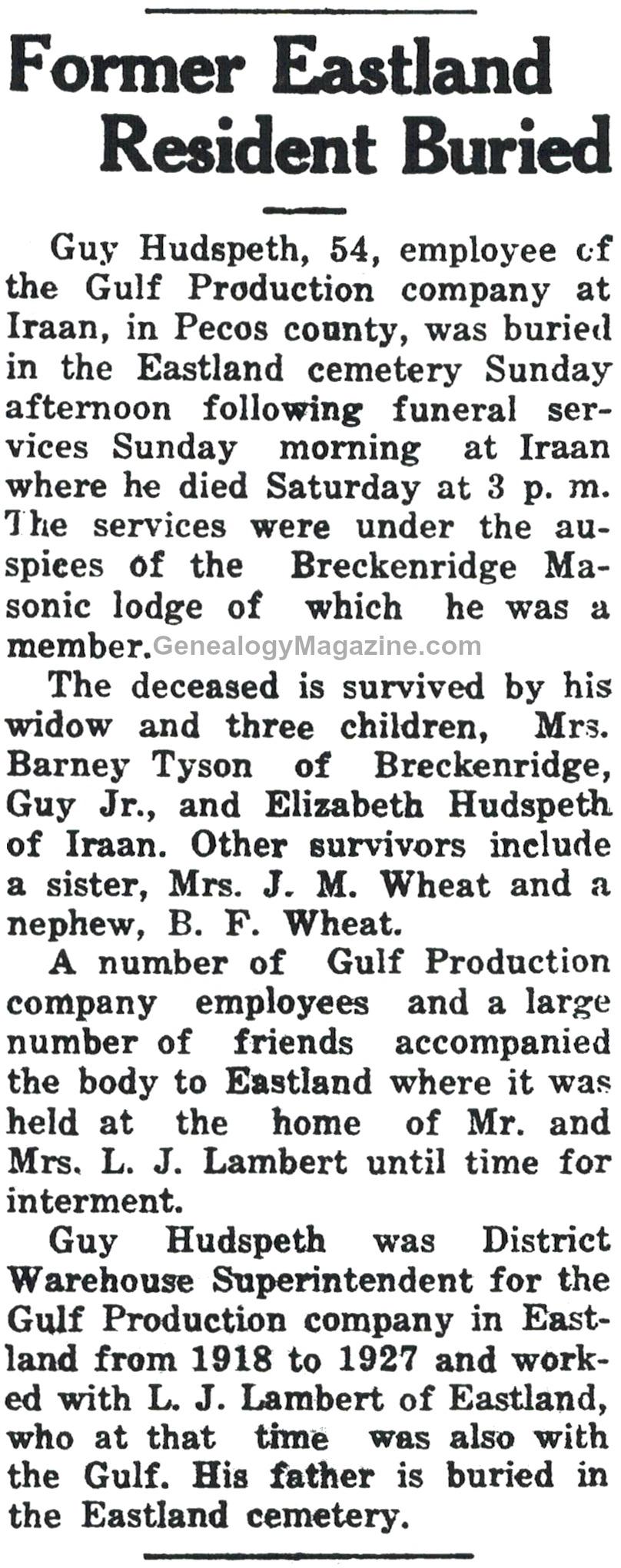 HUDSPETH, Guy obituary