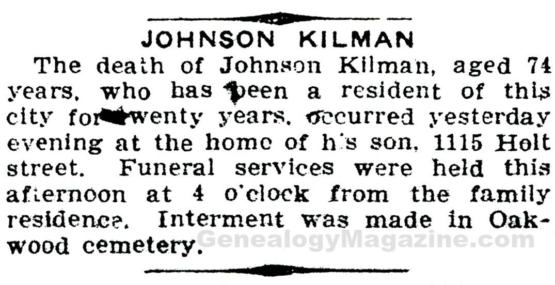 KILMAN, Johnson obituary